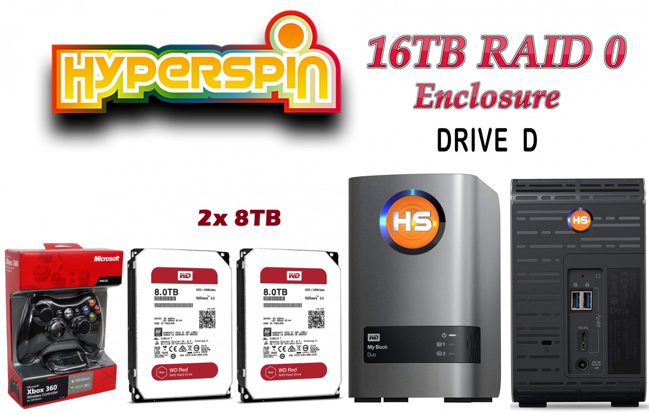 16TB Preconfigured Hyperspin Hard Disk External RAID 0 Enclosure
